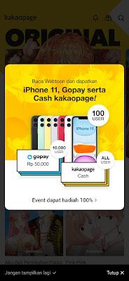 Cara Mendapatkan Saldo Gopay dari Aplikasi Kakaopage Android
