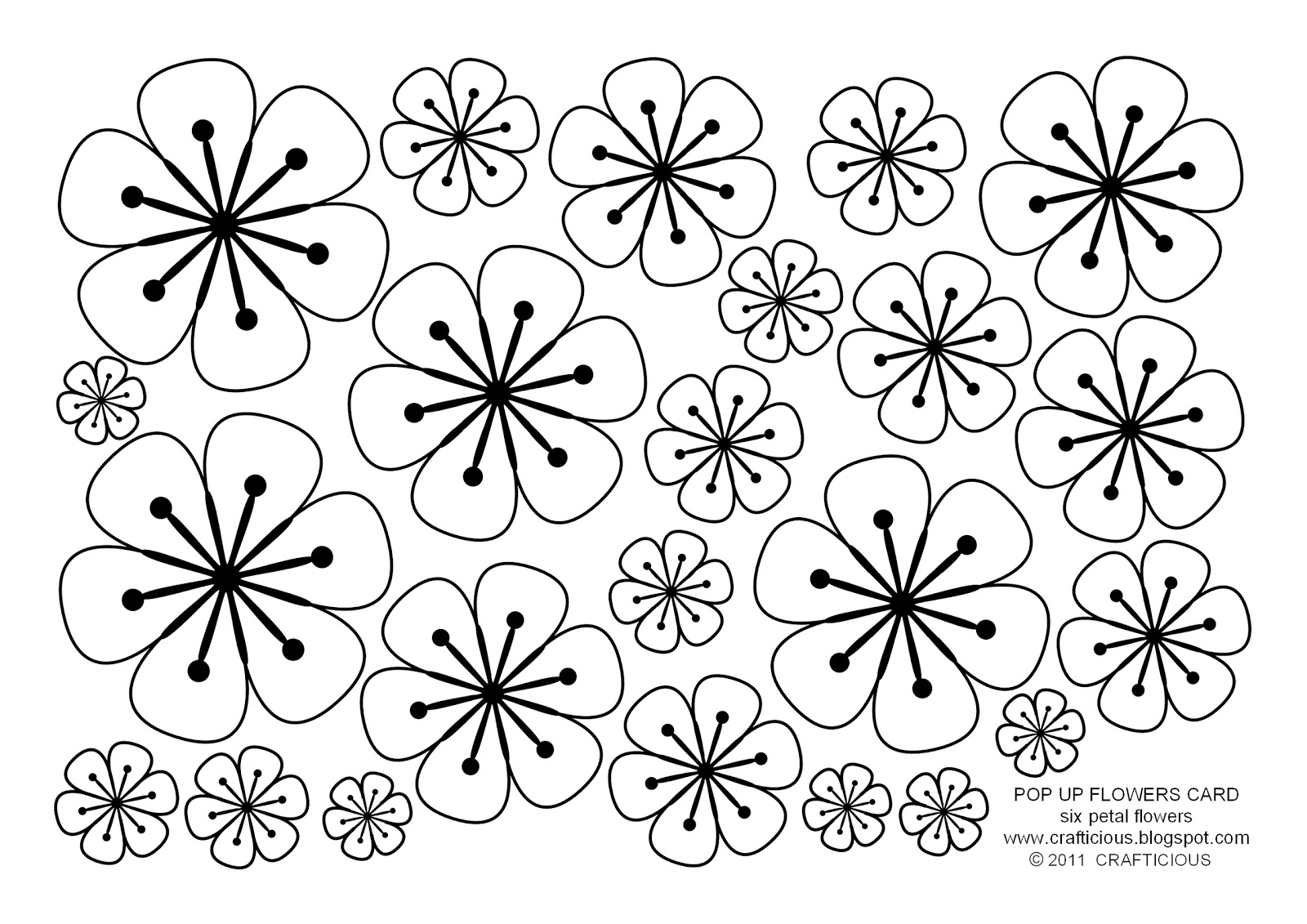 flower template with 6 petals flower