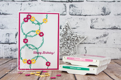 Bright Birthday Card with Rings of Flowers Inspired by Yesterday's Olympic Card.  Learn to make cards and buy Stampin' Up! UK Supplies here
