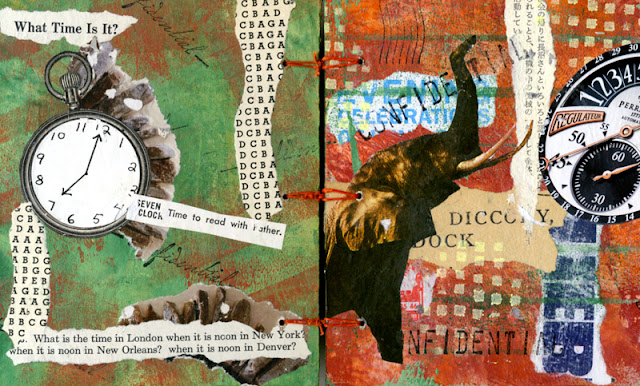 Collaged book with elephants and clocks