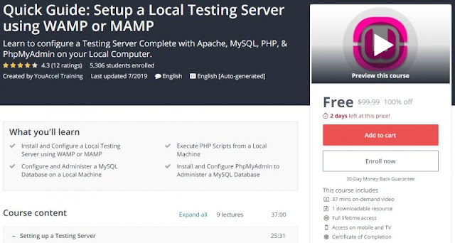 [100% Off] Quick Guide: Setup a Local Testing Server using WAMP or MAMP  Worth 99,99$