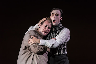 English Eccentrics – British Youth Opera at the Peacock Theatre. Edward Hughes (Beau Brummell) and Kieran Rayner (Etienne). Photo: Clive Barda/ArenaPAL