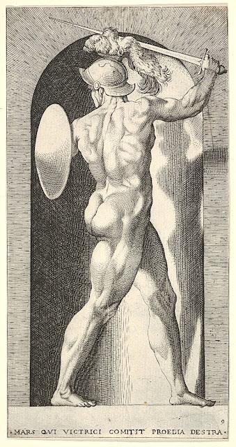 Giovanni Jacopo Caraglio - Marte in battaglia - incisione a bulino - nudo maschile