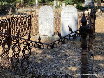 iron bed grave at Pine Grove Cemetery in Nevada City, California