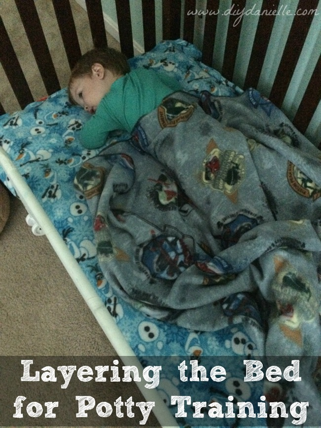 How we layer the toddler bed for potty training our son.
