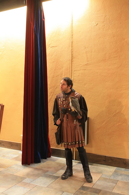 Meeting the falconer at Medieval Times in Schaumburg, Illinois