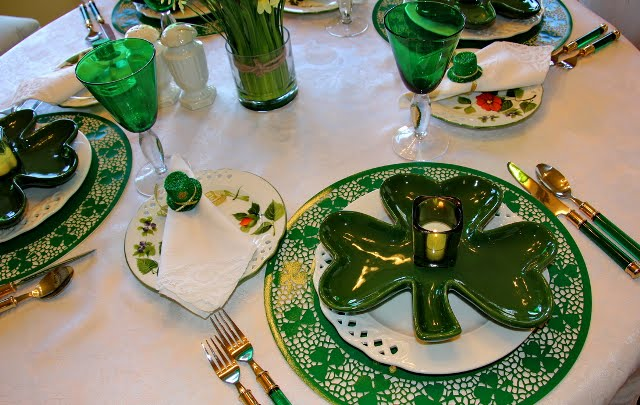 St. Patrick's Day Table Setting Tablescape with Shamrock Plates and Shamrock Chargers