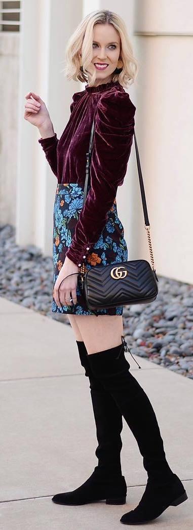fashion trends / velvet blouse + printed skirt + bag + over knee boots