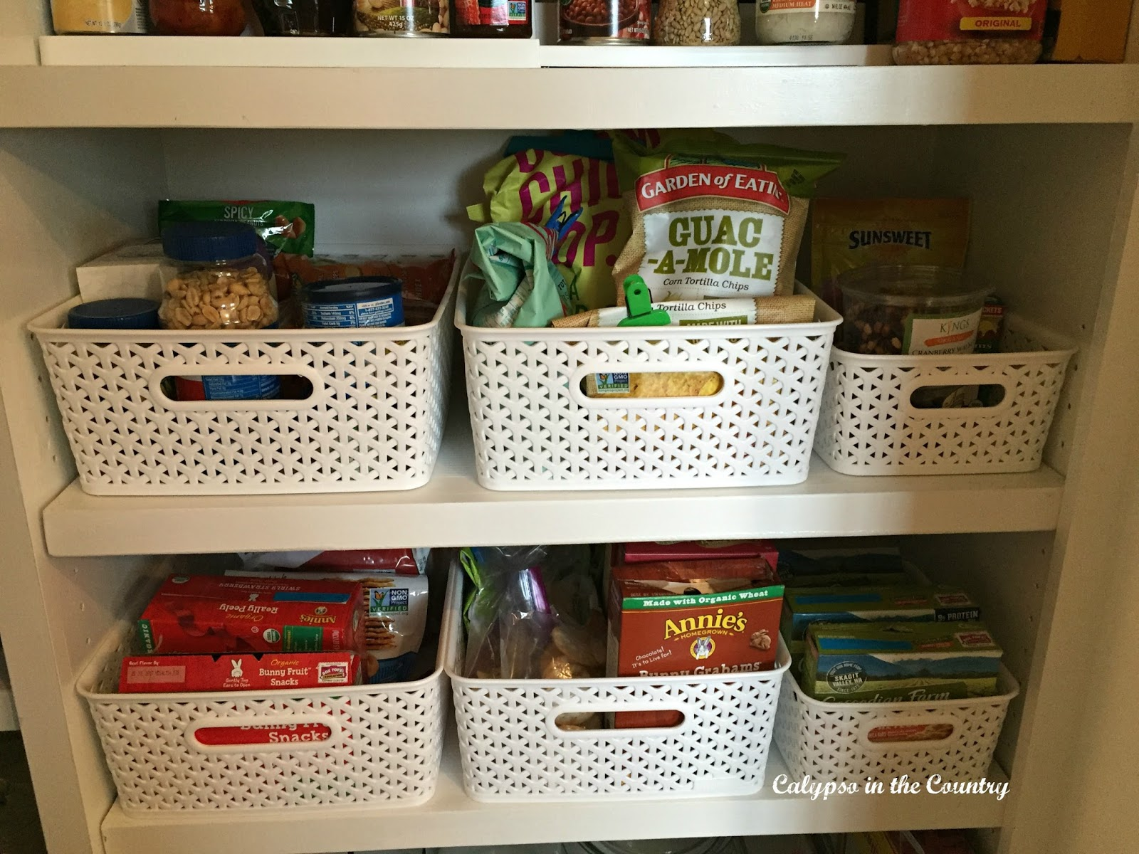 Pantry Snack Organization - My Favorite White Storage Bins