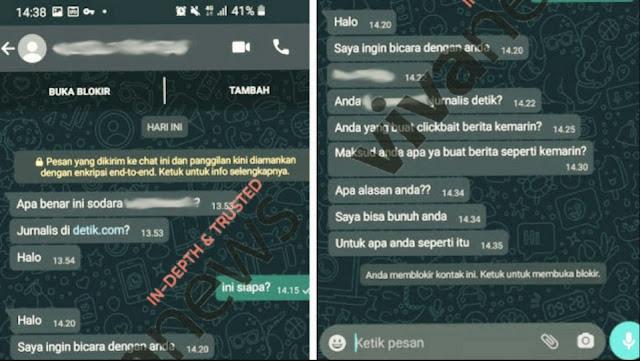 TERKUAK! Begini Pesan Ancaman Pembunuhan Wartawan Detikcom Yang Beritakan Jokowi Buka Mall