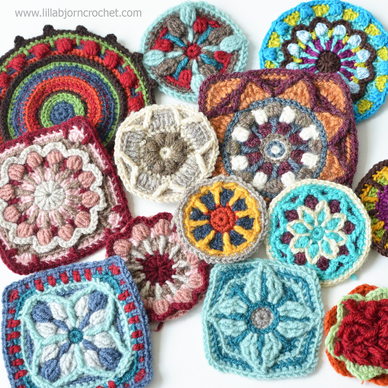Overlay crochet motifs and mandala by Lilla Bjorn Crochet (lillabjorncrochet.com)