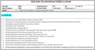 Download RPP 1 Lembar PAK & BP Kelas 12 Semester 1