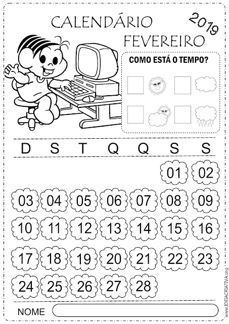 Calendários fevereiro para imprimir  turma da Mônica