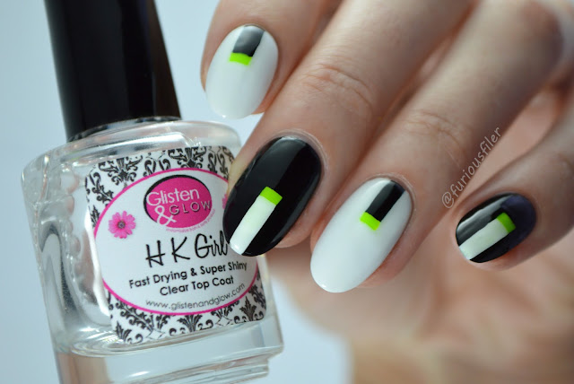 futuristic black white nails monochrome elegant stripes