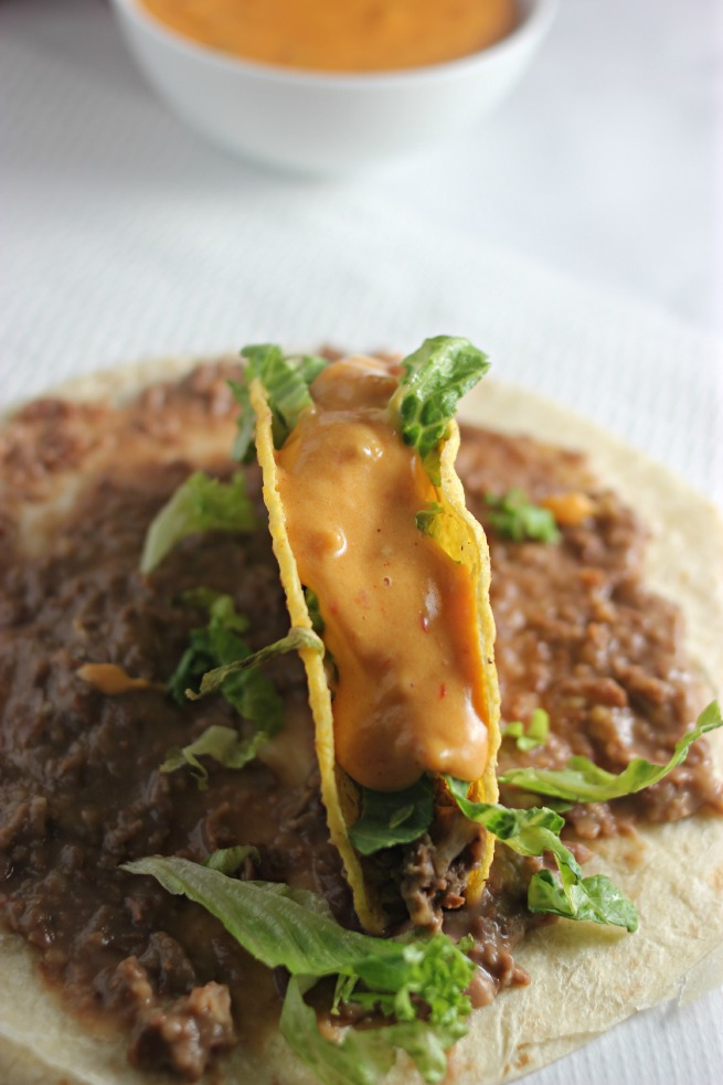 Easy Nacho Tacos.  Featuring an EASY nacho cheese sauce recipe (AKA Queso)