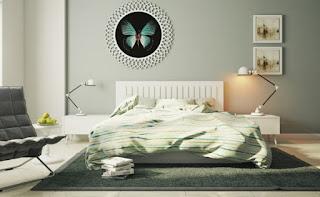 dormitorio decorado en gris