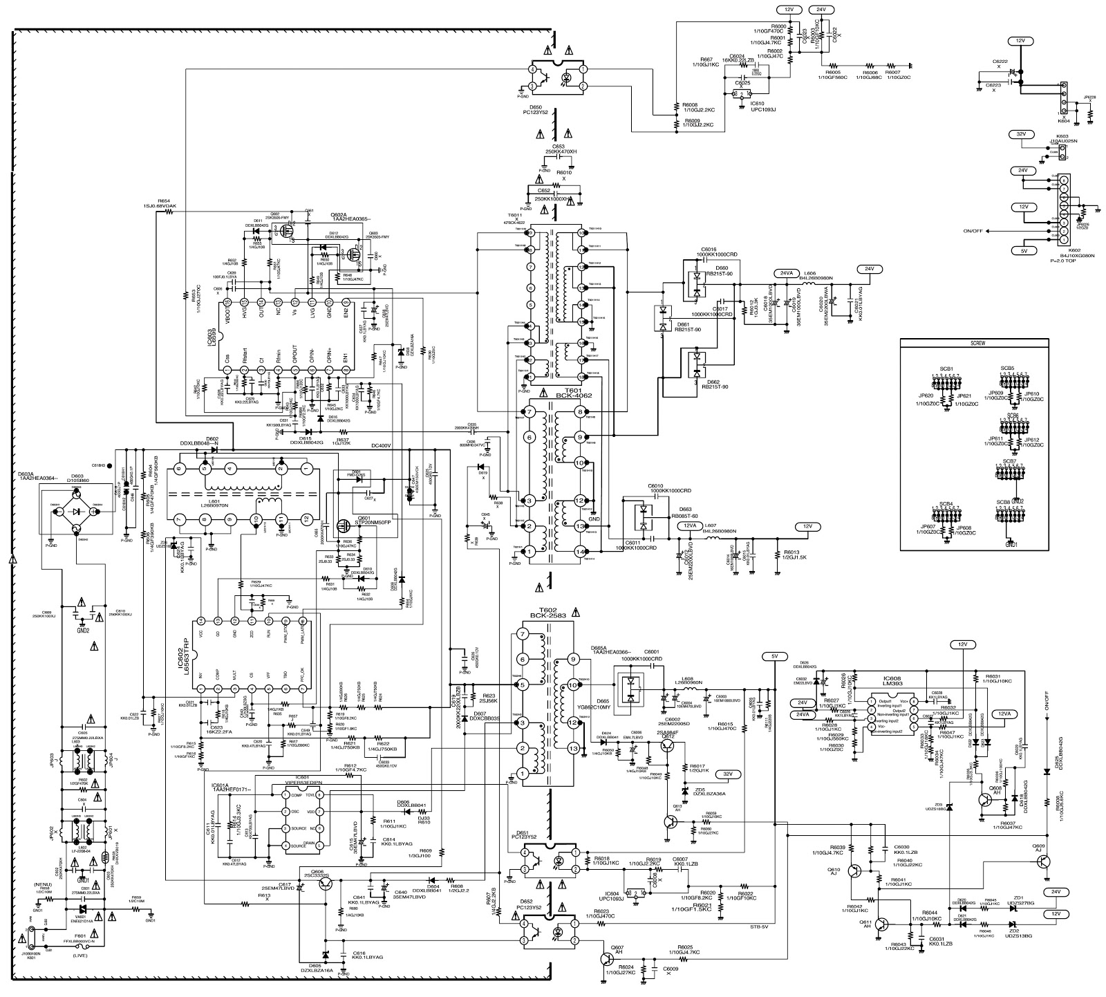 sanyo tv service modes and smps back light inverter schematics tv sanyo c27lw33s diagrama lcd 24xh7 [ 1600 x 1442 Pixel ]