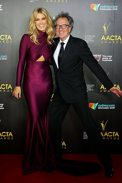 Delta Goodrem and Geoffrey Rush in Sydney AACTA