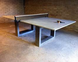Modern Concrete Steel Ping Pong Table Doubles As IndoorOutdoor - Ping pong dining table combo
