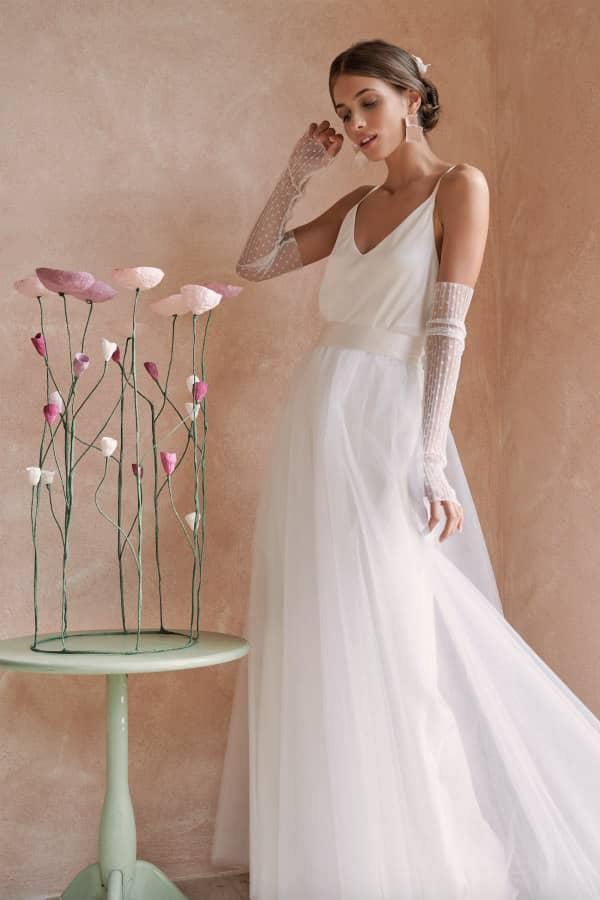 paper mache floral circular arrangement with bride
