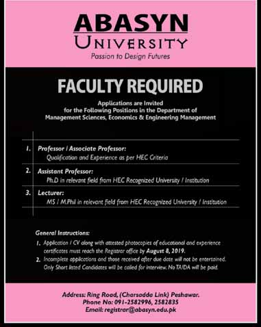 Jobs In Abasyn University Peshawar Today 03 Aug 2019