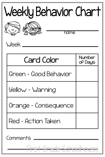 Weekly behavior chart each child takes one of these home friday  tally how many days the children were on  specific color also first grade schoolhouse charts and parent communication rh firstgradeschoolhousespot