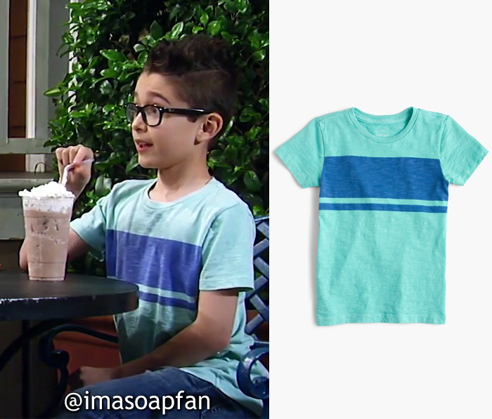 Spencer Cassadine, Nicolas Bechtel, Green and Blue Striped Tee, J. Crew, General Hospital, GH