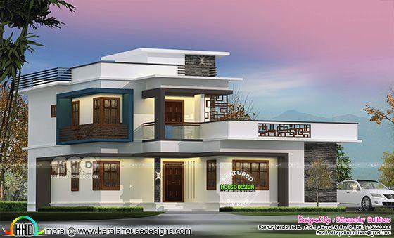 1910 square feet modern flat roof Kerala residence