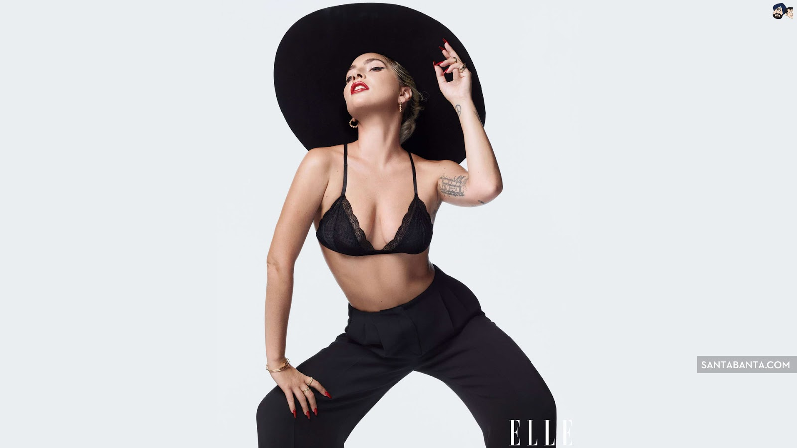 Lady Gaga Black Bra Hot Wallpaper