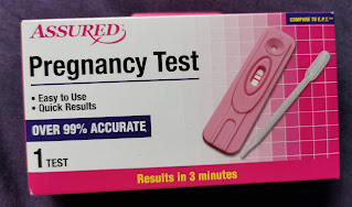 Packaging for Assured Pregnancy Test, from Dollar Tree