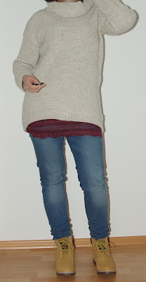 [Fashion] Lace and knitted Sweater with jeans and hat - Last cold weather outfit!