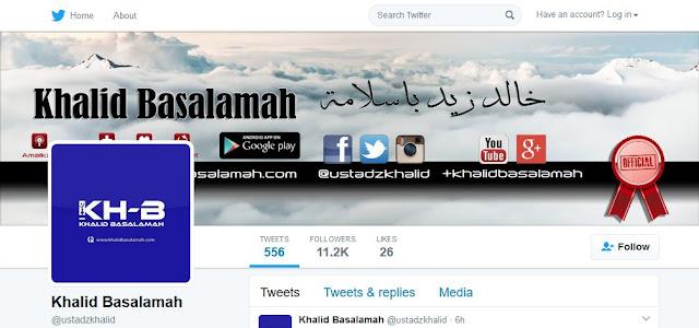 Alamat Website dan Sosial Media Resmi (Official) Ustadz Khalid Basalamah