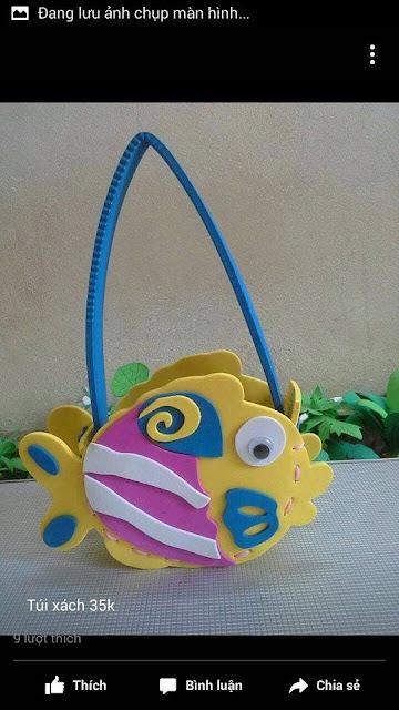 Ide membuat tas menggunakan bahan dasar foam  berbentuk ikan