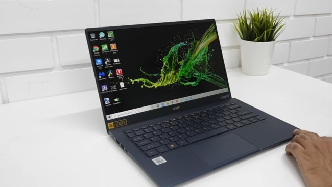 Acer Swift 5 laptop. It is the lightweight Acer laptop with high-end CPU but poor thermal management. The long-lasting battery and efficient RAM allows for better multitasking using a brighter touchscreen display. It is powered by Intel Core i7 Processor with Intel Iris Plus GPU.