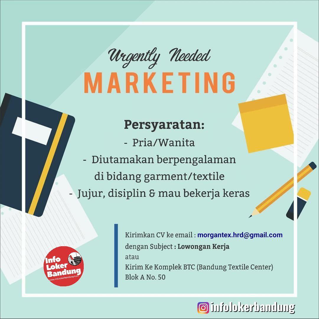 Lowongan Kerja Marketing Morgan Textile Bandung Juli 2019
