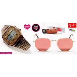 Kit Óculos de Sol RayBan Hexagonal e Relógio Vintage