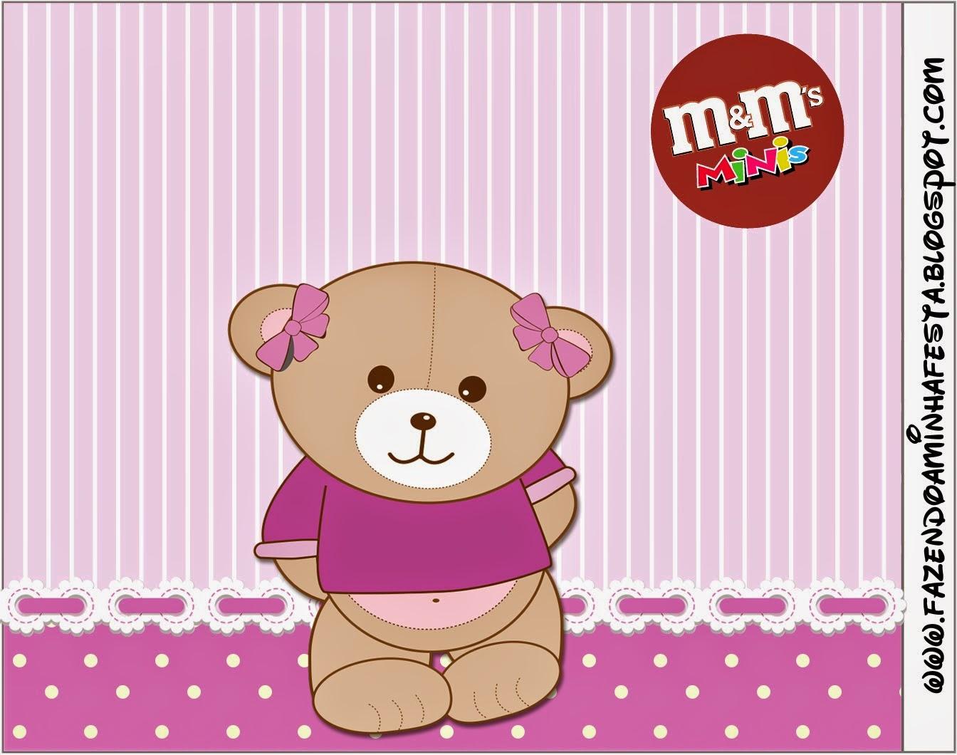 Etiqueta M&M de Osita en Fondo Lila para imprimir gratis.