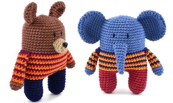 urso elefante croche amigurumi receita