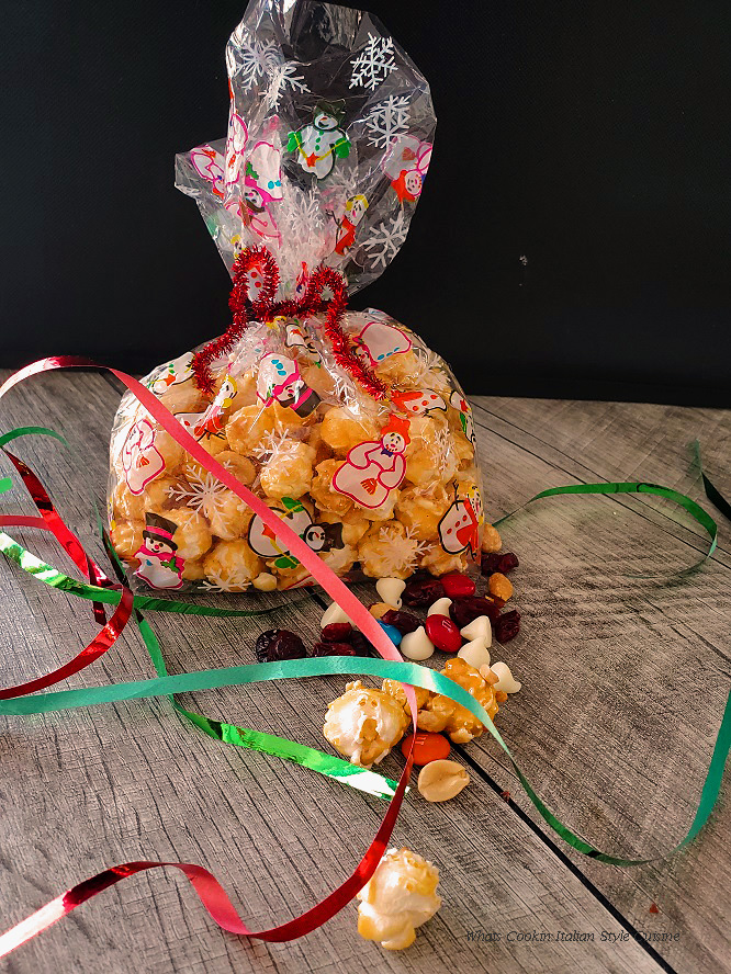 this is caramel corn in a see through bag for the holiday baked with also trail mix to mix in like a moose munch