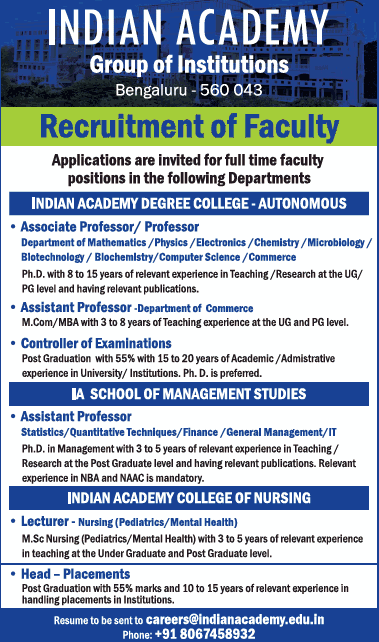Indian Academy Degree College Microbiology/Biotech Faculty Jobs