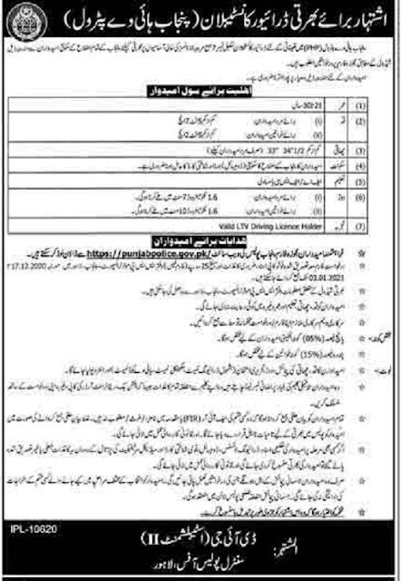 punjab-highway-police-jobs-2020-for-driver-constable