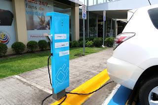 Electric car charging at Escazu Multiplaza