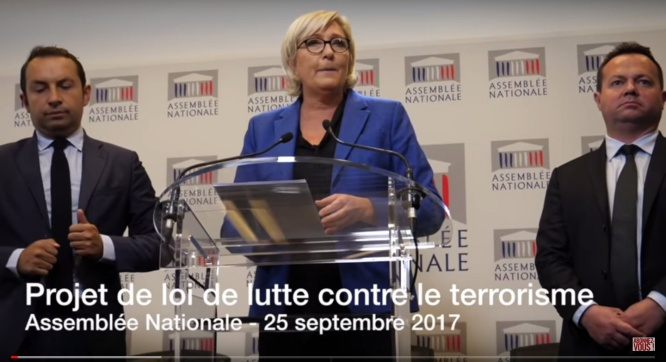 Projet de loi de lutte contre le terrorisme : Conférence de presse de Marine Le Pen (25/09/2017)