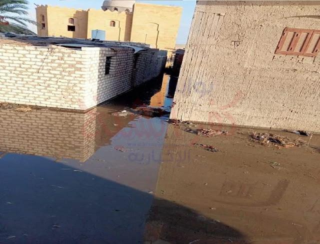 غمر مياه بحيرة البرلس لمنازل قرية البنائين الشرقية