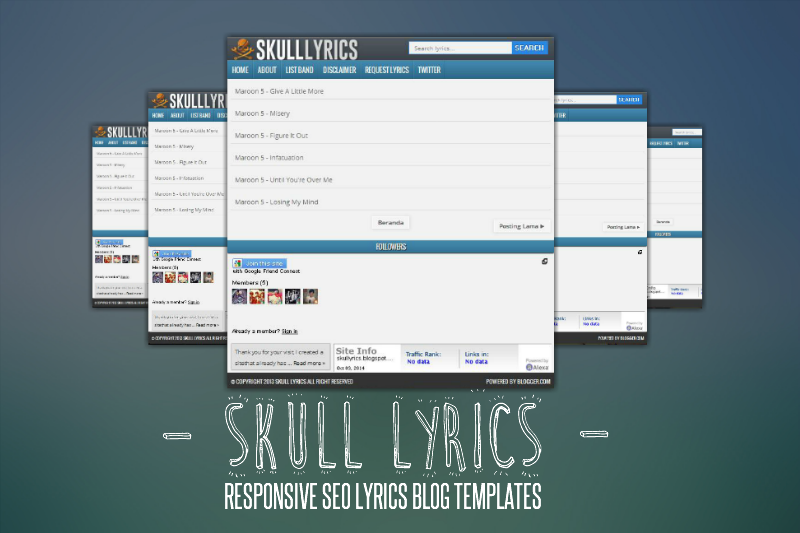 Skull Lyrics Responsive SEO Blogger Templates