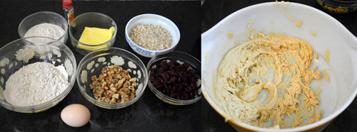 Oatmeal Cranberry Whole Wheat Walnut Cookies ingredients