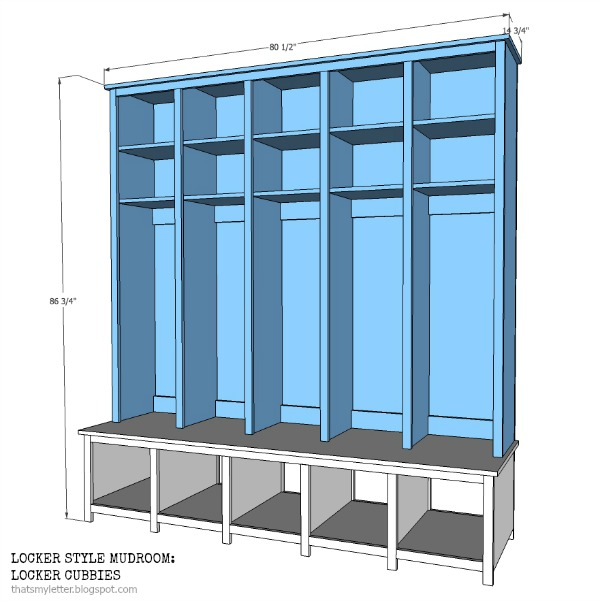 locker style mudroom cubbies free plans