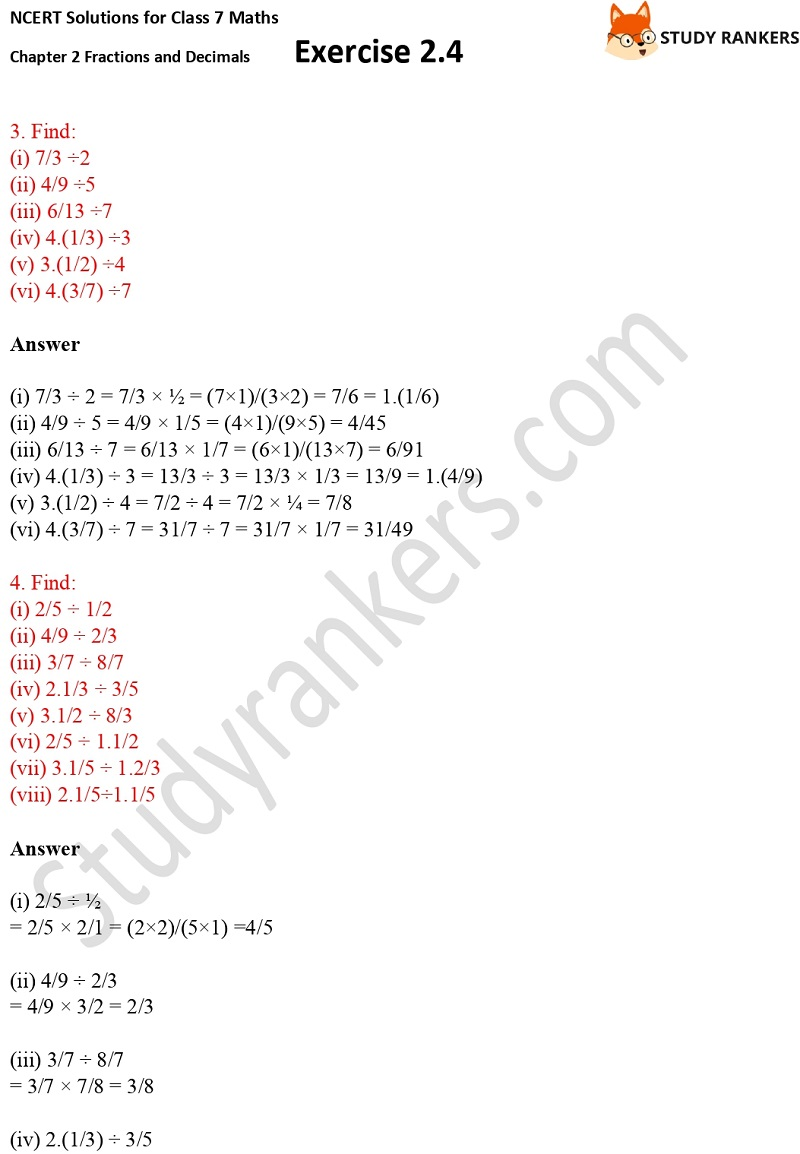 NCERT Solutions for Class 7 Maths Ch 2 Fractions and Decimals Exercise 2.4 2