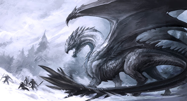 Black Dragon with White Background