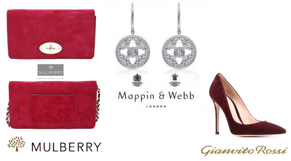 Duchess of Cambridge's MULBERRY Clutch, Mappin and Wedd earrings and GIANVITO ROSSI Suede Shoes
